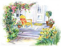 Porch with chair and flowers