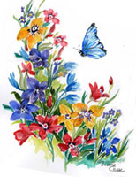 Blue butterfly over red, yellow and blue flowers
