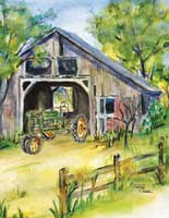 Old barn with green tractor