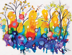 Abstract, colorful trees