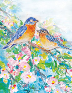 Two bluebirds on branch of pink flowers