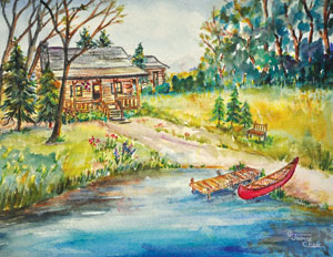 Boat landing with canoe and cabin