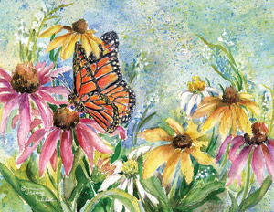 Monarch butterfly with purple and yellow flowers