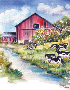 Barn by river with cows