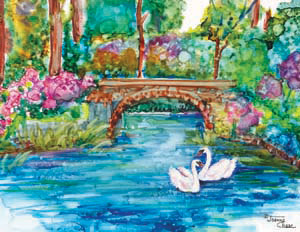 Swans on a river with bridge and flowers