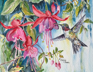 Hummingbird and pink flowers