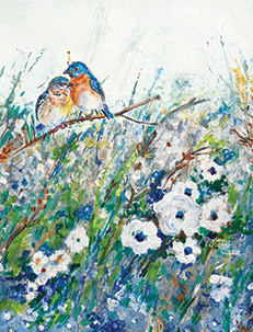 Bluebirds and white flowers