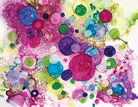 Abstract pink, green, purple circles