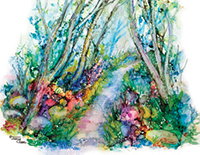 Path through forest with rainbow flowers and white trees