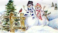 Three snowmen and a cardinal in front of a split rail fence and pine tree