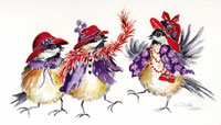 Chickadees in red hats