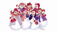 Snowmen in red hats