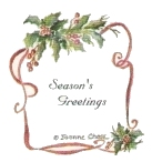 """Season's Greetings"" text with holly border"