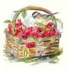 Chickadee on basket of apples