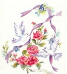 Doves with ribbons and rose branch
