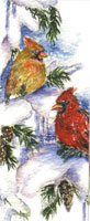 Cardinals in pine tree; matching card BC0132