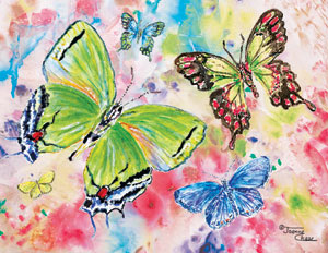 Green, purple, and yellow butterflies