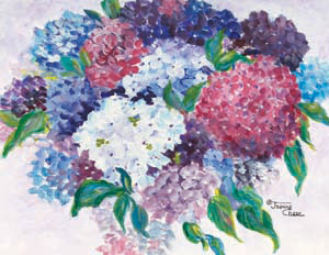 White, pink, blue, and purple flowers