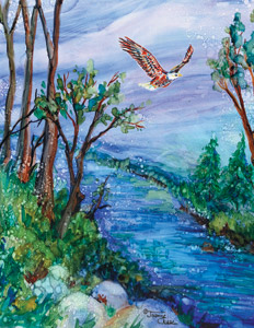 Eagle flying over wooded stream
