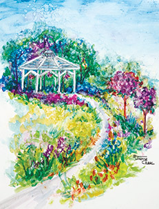 Gazebo with flower-lined path